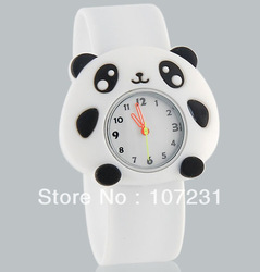 New Lovely Cartoon Panda Design Children&#39;s Analog Slap Watch with Plastic Strap Kids(China (Mainland))