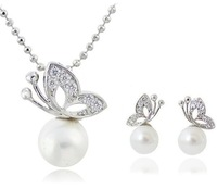 Wholesale 18K White Gold Plated Pearl Necklace/Earrings Make With AU Crystal Set Fashion Jewelry MG190