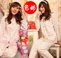 2012 spring and autumn clothing mother women's 100% cotton sleep set long-sleeve cardigan lounge
