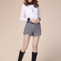 2012 women's woolen shorts high waist boot cut jeans thickening shorts with belt autumn and winter female