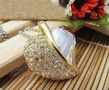 metal crystal heart necklace USB 2.0 Memory Stick Flash Drive, free shipping 1GB 2GB 4GB 8GB 16GB 32GB b3
