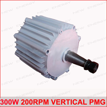Free  Shipping! High quality 300w 200rpm low speed vertical wind turbine generator alternator