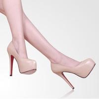 2013 15CM Hot Vogue Lady Women Platform Pumps Stiletto High Heels Shoes Beige/Black US SIZE 4-10