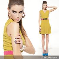 Kitten slimming slender joannekitten100 type a v one-piece dress