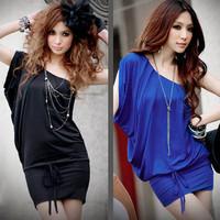 Black Blue One Shoulder Top Dress Short Strap Sexy Mini Dress Club Guaranteed 100% Quality Sexy Clubwear Dress Wholesale Retail