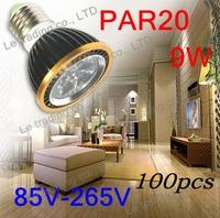 100Pcs/lot Par20 Led Lamp E27 Dimmable 3X3W 9W Spotlight Led Light Led Bulbs 85V-265V Energy Saving Free shipping