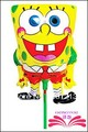Free shipping Spongebob push off pin foil balloon , foil balloon within 18cm stick.  ,size 27x18cm