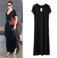Discount Popular Fashion European Brand Movie Star's Black Solid color Pocket Modal Long Dress LY121169