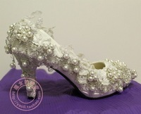 2014 NEW 100% bride crystal and ivory pearls high heel shoes pumps wedding shoes