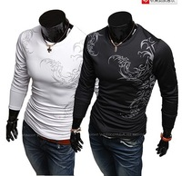 Free shipping Sports sportsman fashion tattoo printing long-sleeved men round neck T-shirt