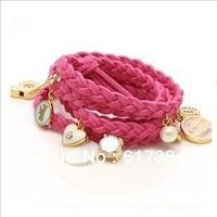 12pcs/lot free shipping New fashion leather bracelet heart pendant pearl bracelet multilayer bracelets bangles