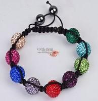 Shamballa jewelry Wholesale  Crystal Shamballa Bracelets Micro Pave CZ Disco Ball  multicolour Bead,Clay Bracelet  DWQR698