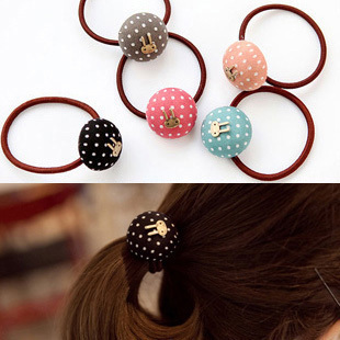 Promotion! Wholesale!  Fashion lady women jewelry fabric dot headband sweet rabbit dot hair rope (can mix colors)  SHR018