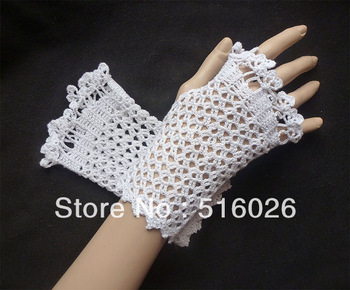 BRIDAL LACY GLOVES Wedding Fingerless Gloves, Mittens, Bridal, Crochet White Fishnet Lace,  Bridesmaid Women 2pair/lot