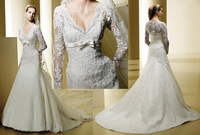2013 A-line Long Sleeves V-neck Appliques Lace Court Train Satin Muslim Wedding Dresses Bridal Gowns