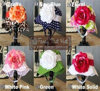 2013new fashion baby flowers sun hat ,kids summer beach dot floka floral  infant caps3pcs/lot