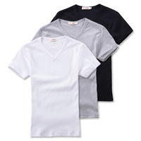2013 spring V-neck tight t-shirt Men black-and-white short-sleeve grey male basic shirt clothes