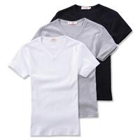 2013 spring V-neck tight t-shirt Men black-and-white short-sleeve grey male basic shirt clothes