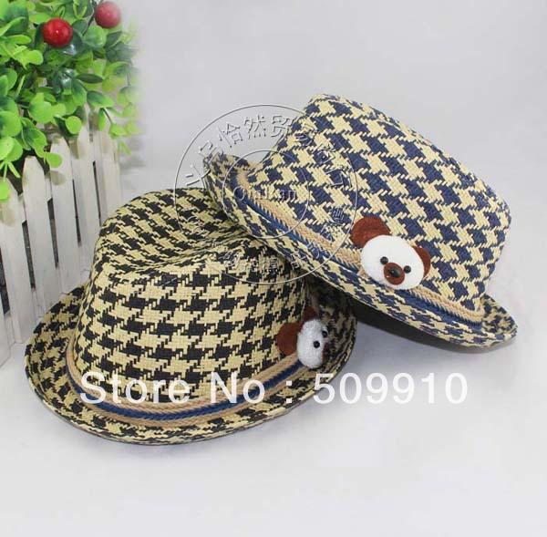 Checked Baby Bear Cap Children Straw Fedora Hat Kids Summer Sunhat Cute Infant Top Hat 10pcs Free Shipping(China (Mainland))