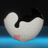 Modern brief art decoration home decoration ceramic furnishings hemisphere boughpot black vase