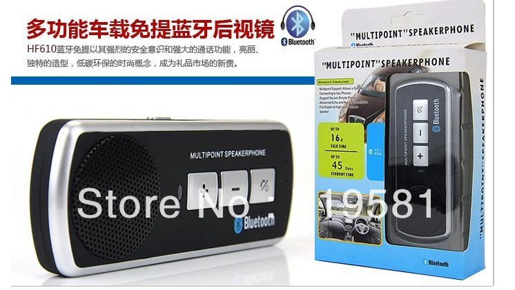 free shipping Best Drop Shipping Item Cell Phone Handsfree Bluetooth Car Kit Handsfree Speaker 1piece(China (Mainland))