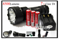 8500lumens 7x CREE XM-L T6 LED High Power Tiny Monster Flashlight Torch Power +3x18650 Battery&Charger Free Shipping