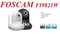 ORIGINAL Foscam FI9821W New HD H.264 webcam Pan Tilt SD Card Ip camera IP Security Camera IR 1280*720 HD (FREE SHIPPING)