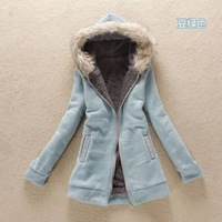 6586 2012 autumn women's rabbit fur with a hood berber fleece thickening wadded jacket sweatshirt outerwear