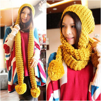 Min 15$ (Free shipping) K-0039 autumn and winter women's set knitted yarn muffler scarf hat scarf one piece