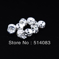 7MM silver plated clear crystal rhinestone spacer beads charm jewelry findings, 1000pcs, free shipping