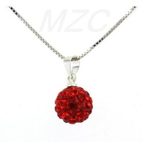 Cheapest!Free Shipping!10mm 15Pcs/Lot Deep Red Disco Pave Crystal Ball Pendant.Silver Plate Chain Shamballa Necklace Wholesale.