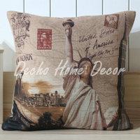 Free Shipping 45x45cm USA Golden Gate Bridge Empire State Building Linen Pillow Cover Cushion Case