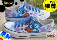 Low hand-painted shoes graffiti shoes canvas shoes female - - b087 stitch