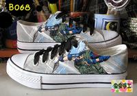 Low hand-painted shoes graffiti shoes canvas shoes female male - - b068 naruto kakashi