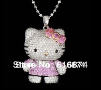wholesale-free shipping new style beads chain pruple golden bow color hello kitty necklace free jewelry gifts -HT-1504