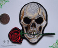 Free shipping 5 pcs/lot hot sale exquisite embroidery fabric sticker skull rose cotton cloth paste DIY patches 10.5*9.5cm