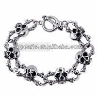 Free Shipping! 316 Stainless Steel Skull Heads Bracelet MEB109