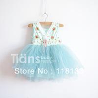 Wholesale - 10pcs/lot new cute girl's Floral Cotton 6 layer yarn super beautiful princess vest dress children's clothes Y AUG3