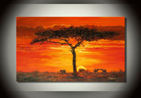 The sunset Trees theme painting, 100% handmade oil painting, abstract art family hotel decoration wall art pictures
