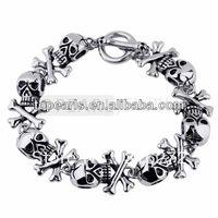 Free Shipping! Skull and Crossbones Stainless Steel Men's Bracelet MEB108
