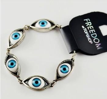 Free shipping 1 lot/10pcs PUNK Vintage evil Eyes Bracelets & Bangles . Hip-hop