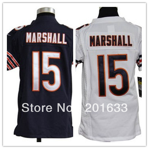Discount Cheap Youth Jerseys #15 Brandon Marshall Navy blue white kids football jersey outlet , free shipping fee Epacket(China (Mainland))