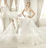 New Style 2013 Elegant  A Line Spaghetti Strap Organza Lace Applique Beaded  Pleated White Bridal Wedding Dresses Dress