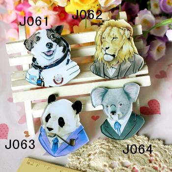 Mix order -min order is $ 20 hotsale cool acrylic badge popular hotsale brooch dog lion panda free shipping J061 J062 J063 J064