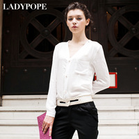 2013 spring fashion women's solid color fabric slim V-neck shirt women's long-sleeve shirt