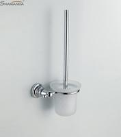 Fashion design,Zinc+Brass chrome toilet brush holder,soft fur, Brass& glass,5 years warranty, brush holder,free shipping
