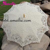 Beige Cotton Sun Batten Victorian Lace Parasol Umbrella