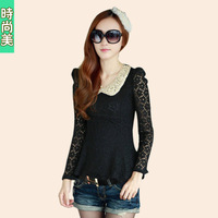 2013 spring new arrival women's peter pan collar long-sleeve lace top sweet puff sleeve basic shirt