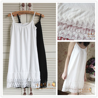 2013 spring and summer double layer cutout gauze lace o-neck one-piece dress basic shirt dress basic suspender skirt nightgown