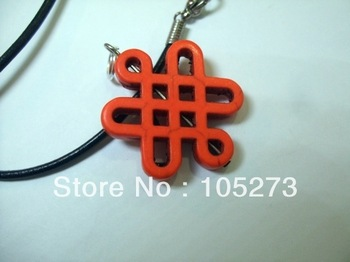 New Arriver Turquoise Jewelry 30mm Natural Semi-Precious Stone Orange Chinese Knot Turquoise Pendant 18'' Black Rope Necklace